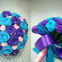 Turquoise And Purple Wedding Bouquet
