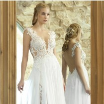 Vintage Bohemian Backles Lace Chiffon Wedding Dress