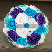 Wedding Bouquet, Bridal Bouquet, Turquoise Blue And Purple, Silk