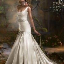 Wedding Dresses Antique Bmw Silk Satin Scoop Neckline Sleeveless