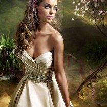 Wedding Dresses Antique Silk Faced Satin Strapless Neckline