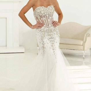 White And Silver Mermaid Dress With Corset Bodice And Tulle Skirt