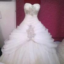 White Sweetheart Princess Ballgown Tule Wedding Dress Diamonds