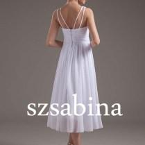 Wsa03 White Empire Waist Chiffon Tea Length A Line Wedding Dress