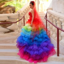 15 Brides Wearing Beautiful Rainbow Wedding Dresses 3