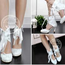 2015 New Fashion Lace Bridal Wedding Boots Shoes Ribbons Lace