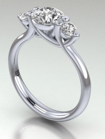 3 Stone Engagement Ring With Low Profile Tulip Setting