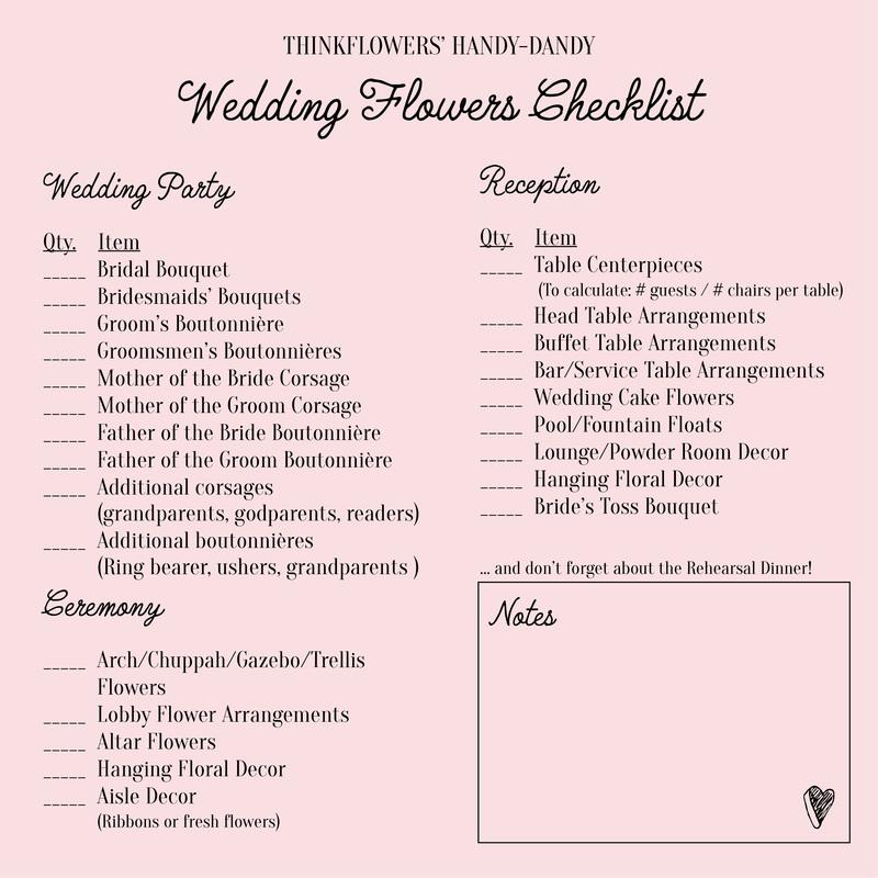 Wedding Flower Checklist