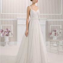 A Line Princess Sweetheart Pleated Tulle Wedding Dress With Beaded