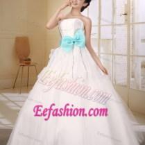Aqua Blue Bow Strapless Ball Gown Wedding Dress In Organza