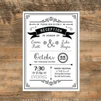 Black Diy Reception Only Invitation