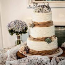 Burlap & Lace Rustic Wedding Cake