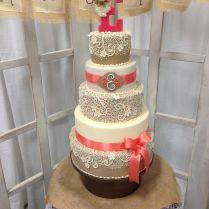 Burlap And Coral Wedding Cake