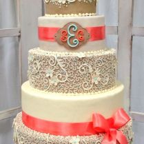 Burlap And Coral Wedding Cake, A Smaller Version Would Be Perfect