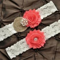 Burlap Wedding Garter Set, Bridal Garter Set