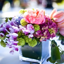 Captivating Purple And Green Centerpieces For Wedding