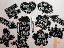 Chalk Marker Plus 10 Blank Chalkboard Photo Booth Props Speech