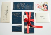 Coral Navy And Champagne Letterpress Wedding Invitations Designed