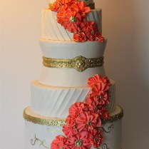 Coral Wedding Cake Picture Coral And Mint Wafer Paper Wedding