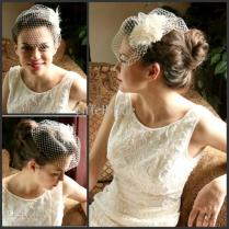 Discount Short Wedding Veils Feathers