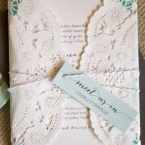 Diy Blue And Baby Pink Lace Wedding Invitation With Name Tag