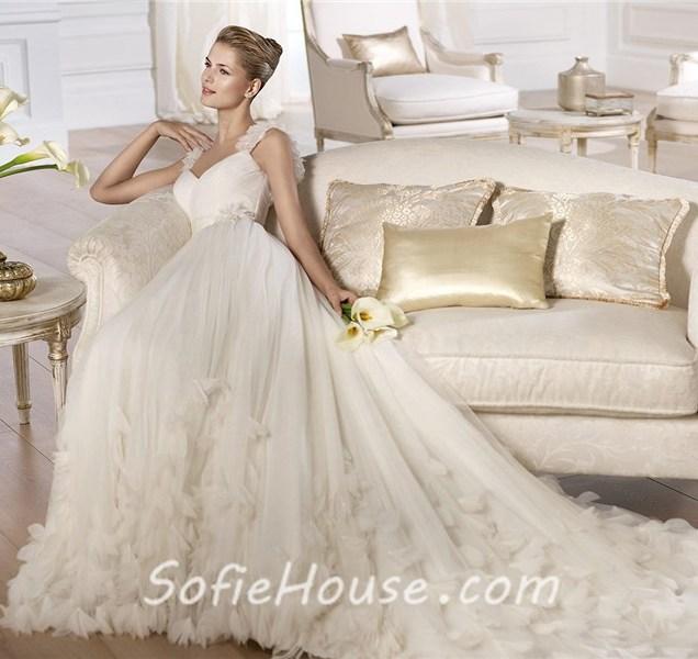 Fairy Tale Princess A Line V Neck Tulle Organza Petal Wedding