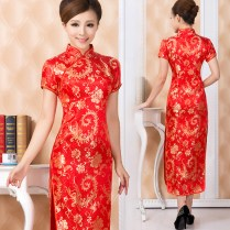 Gold Phoenix Tail Red Qipao Traditional Chinese Wedding Dress