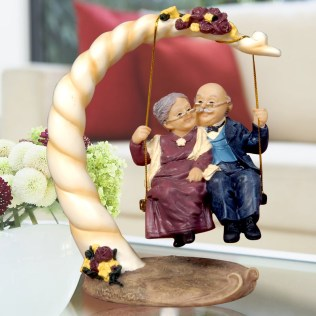 Gold Torch Resin Old Couple Figures Home Decor Parents Wedding