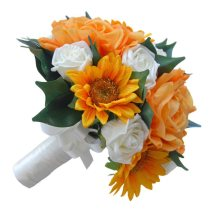 Golden Orange Rose & Sunflowers Bridal Wedding Bouquet