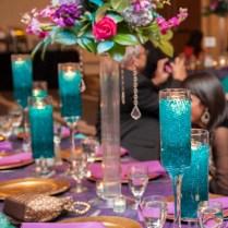Gorgeous Purple And Teal Wedding Reception Decor; Desi Wedding