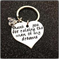 Hand Stamped Keychain Thank You For Raising The Man Of My Dreams