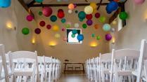 Hanging Paper Lanterns At Wedding