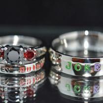 Harley And Joker Rings, Black Diamond Cz And Garnet Cz, Complete 3