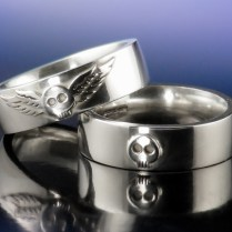 Heart And Skull Wedding Rings