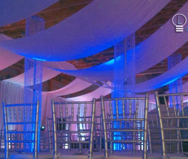 Horizontal Ceiling Draping Wedding Cold Water Michigan