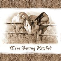 Horses Western Wedding Invitation Getting Hitched Drawing By Joyce