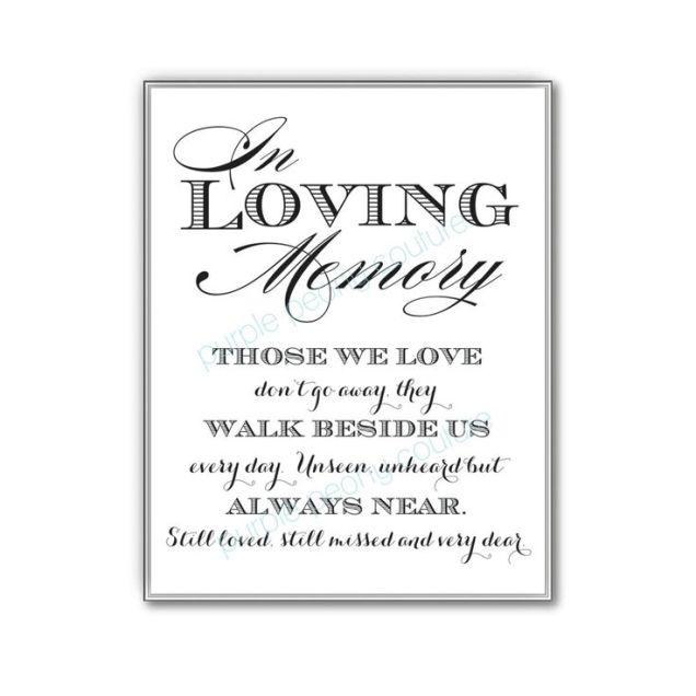 In Loving Memory Wedding Sign Memorial Table Frame 8x10 Printable