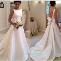 Jol239 Simple Bateau Neck Plain Satin Low Back Wedding Bridal