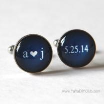 Keepsake Wedding Gift For Groom, Navy Blue Wedding Cufflinks