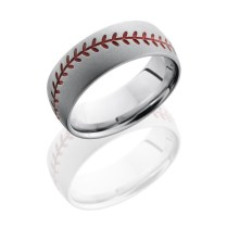 Lashbrook Baseball Pattern 8mm Domed Wedding Band