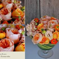 Orange And Peach Juliet Roses And Peonies Wedding Centerpiece