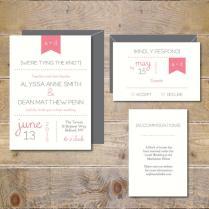Pennant Wedding Invitations Wedding Invites Modern Wedding