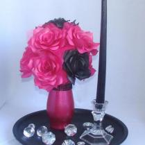 Pink And Black Wedding Centerpiece, Hot Pink Bridal Decor, Hot