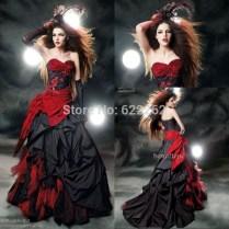 Popular Black And Red Wedding Dress