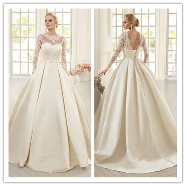 Popular Ivory Satin Long Sleeve Wedding Dress