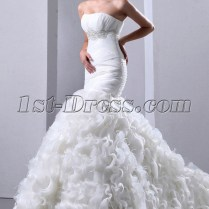 Pretty Ruffle Mermaid Bridal Gowns 2014 With Ostrich Feathers 1st