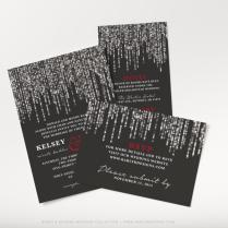 Printable Winter Wedding Invitation, Black, Red, And Silver
