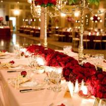 Red And Gold Table Settings And Decorations
