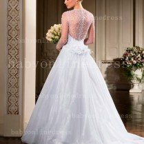See Through Long Sleeves Bridal Gowns Sweetheart Beading Handmade
