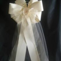 Set Of 14 Huge 16x38 Ivory Or White Tulle Wedding Bows Pew Bows